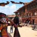 shopping in Bhaktapur puppets