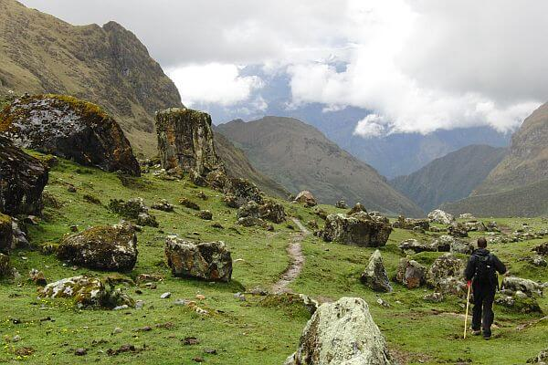 Near the high pass on the Salkantay Trail Trek