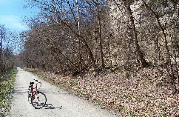 cycling on the Katy Trail in Missouri