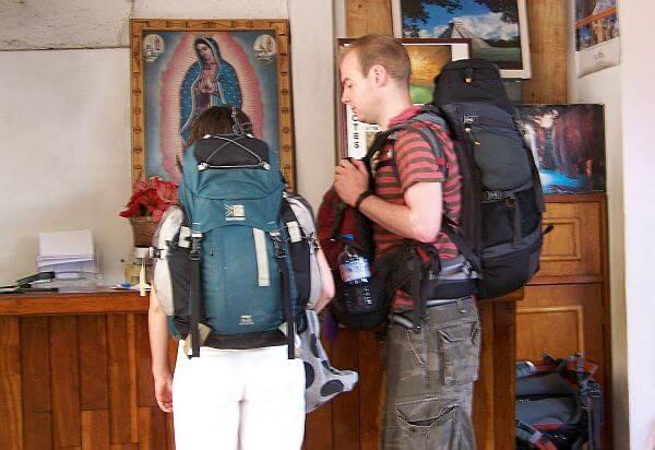 loaded down backpacks