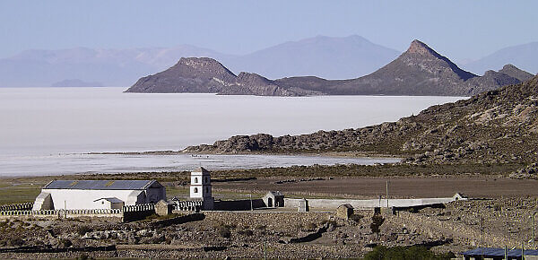 village on the Uyuni Salt Flat of Bolivia