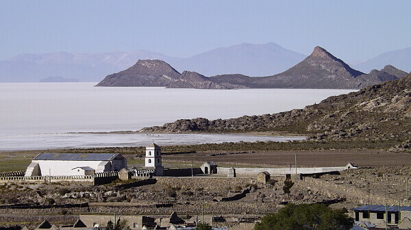 village on the Uyuni Salt Flat of Bolivia