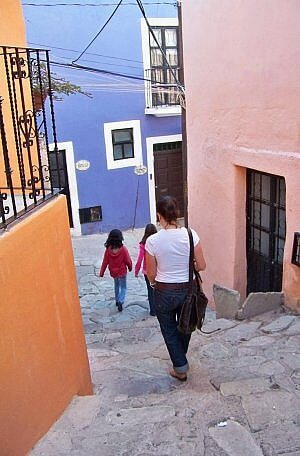 Walking the pedestrian streets of hilly Guanajuato, Mexico while living abroad.