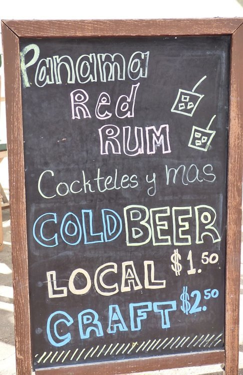 Panama drink prices at a bar in the Casco Viejo historic section of Panama City. One of the cheapest places to drink in the world.