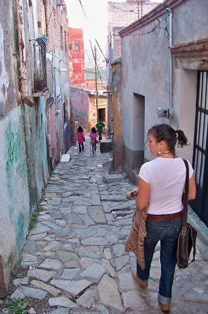 walking a pedestrian street in Guanajuato City