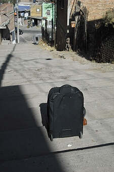 wheelie suitcases and stairs