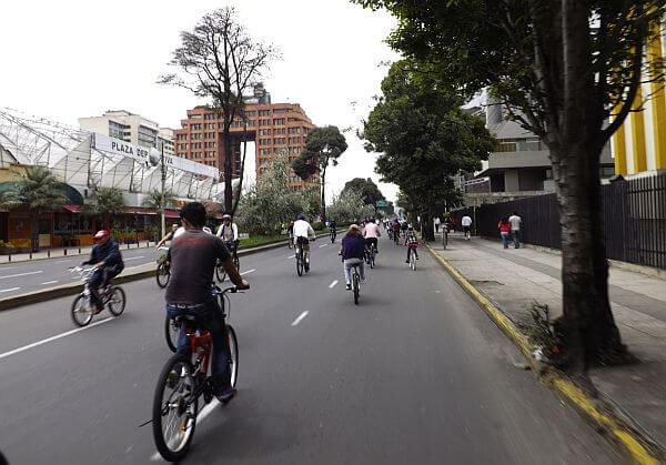 car free Sunday in Quito with street closed