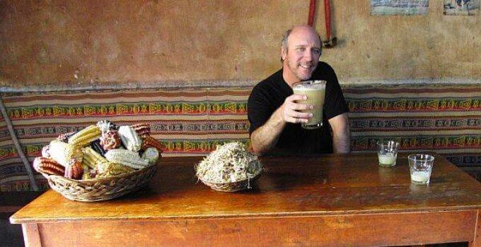 drinking chicha in Peru near Urubamba