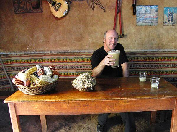 drinking chicha in Peru near Urubamba