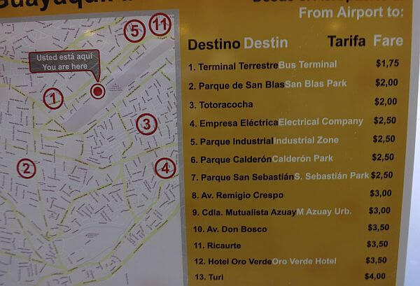 taxi prices in Ecuador for travelers