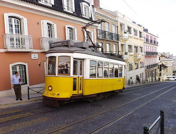 the streetcar trolley is cheap when living in Lisbon Portugal
