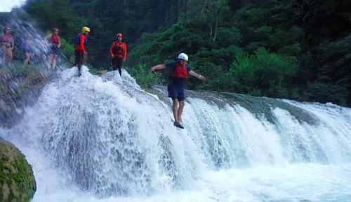 waterfall jump adveenture
