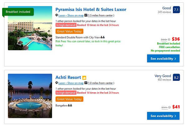 Egypt travel bargain with cheap hotels