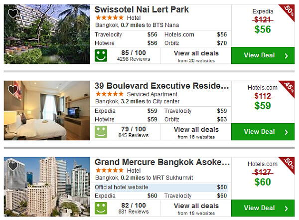 Bangkok hotel prices