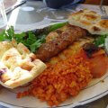 Turkish kebab and bulgur