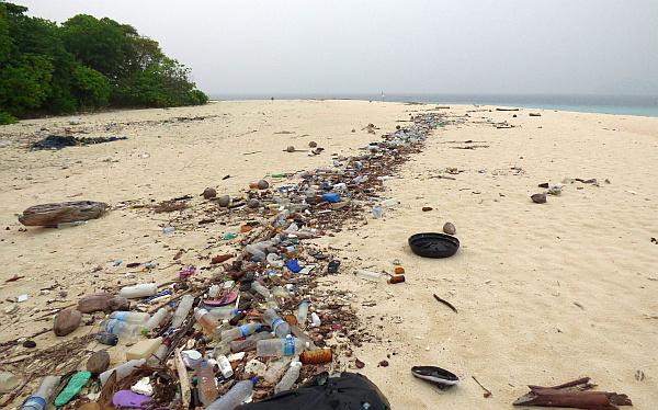 bottled water garbage on beach