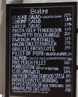 Stockholm restaurant prices