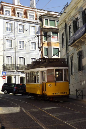 Lisbon, Portugal streetcar in Europe - a cheap place to travel or live