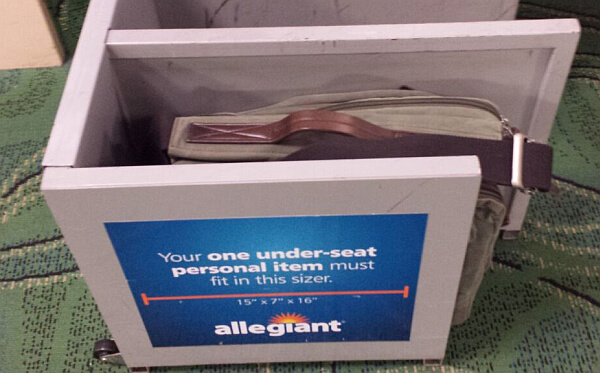Allegiant Air bag sizer