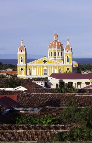 Granada Nicaragua rooftops and church from above
