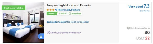 Pokhara hotel prices