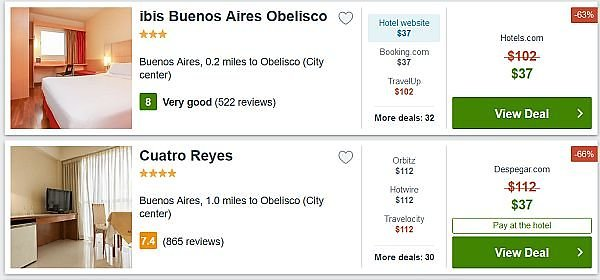 Buenos Aires Argentina hotel prices