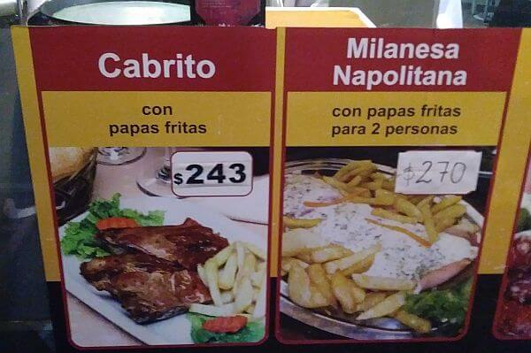 restaurant dinner prices in Argentina