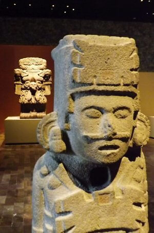 Museum of Anthropology exhibit in Mexico City, Mayan sculptures