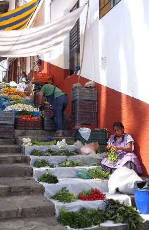 market stall in Cuetzalan, Puebla state of Mexico, where vegetables are less than a dollar a kilo