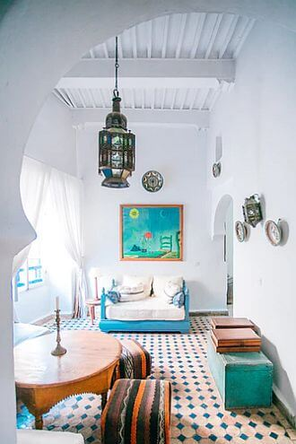 Riad room in Essaouira, Morocco