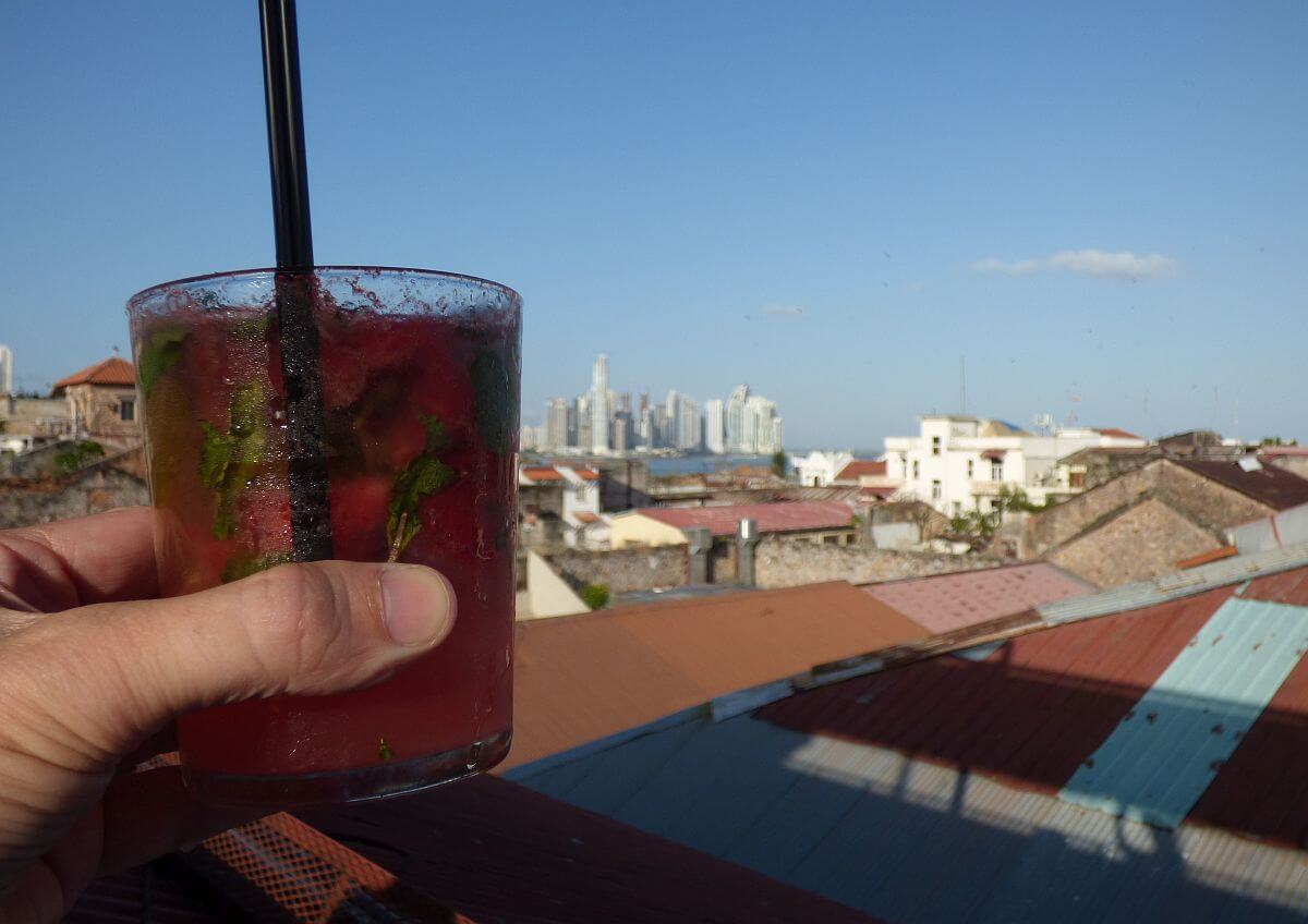 Panama $4 watermelon mojito at rooftop bar