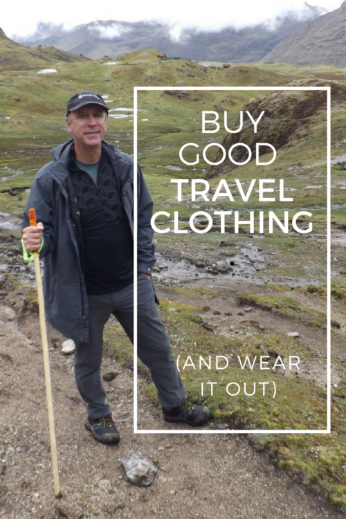 Buy quality travel clothing and wear it out instead of buying and casting off