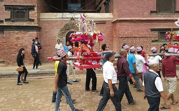 parade honoring the aged in Patan Kathmandu