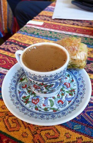 Turkish coffee and baklava in Atakoy, on the Asian side of Istanbul