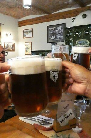 Czech cheers with good beer, usually $1.50 a pint