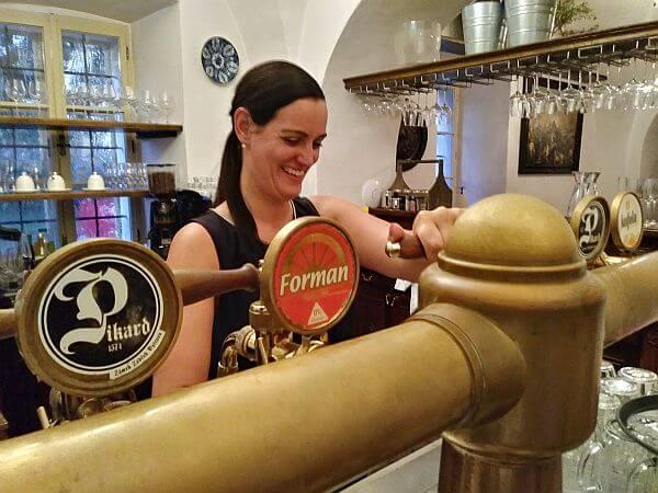 Czech pub bartender local beer