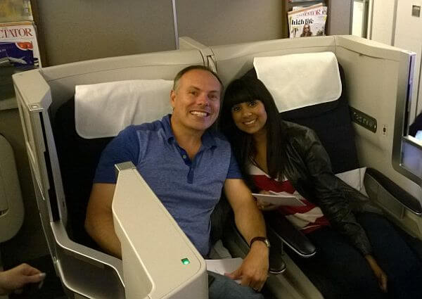 John and Natalie DiScala traveling in business class