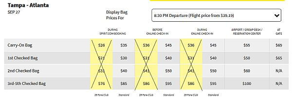 high luggage fees on Spirit Air