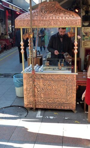 Turkish coffee vendor in Istanbul, a pariah destination right now