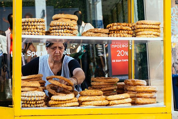 the food of Greece includes cheap street stall snacks