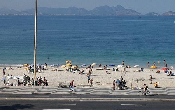 biking Copacabana Beach in Rio de Janeiro