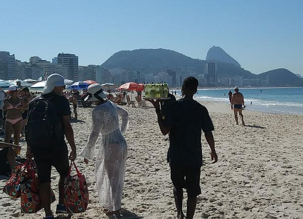 Drinks on the Copacabana beach in Rio de Janeiro, Brazil