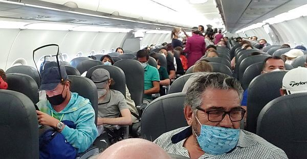 Packed Volaris flight during the coronavirus pandemic
